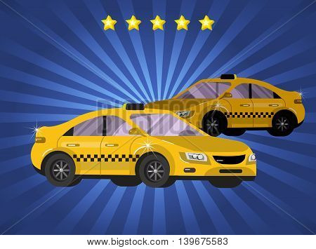 Vector detailed yellow modern taxi car isolated on backgound, pemium taxi servise