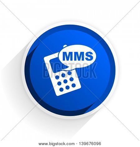 mms flat icon with shadow on white background, blue modern design web element