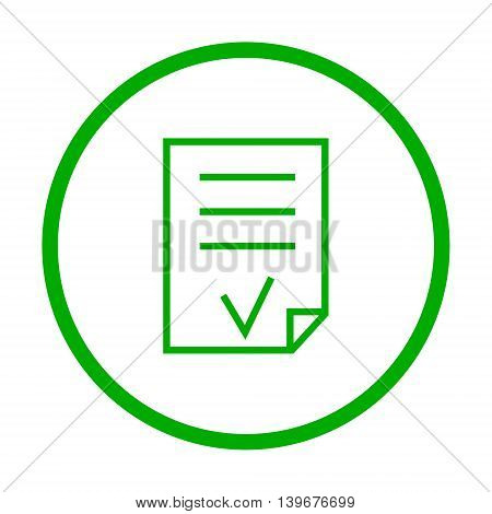 Valid Document vector icon. Style is flat rounded symbol eco green color rounded angles white background.