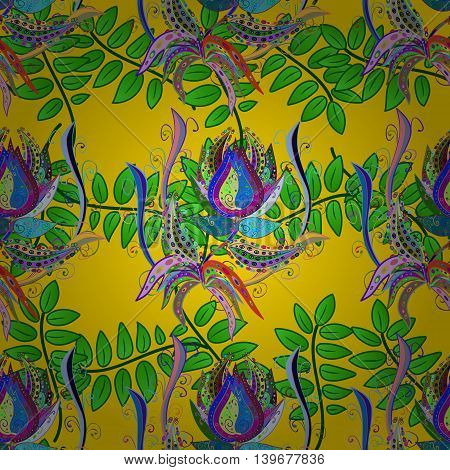 Vector Illustration of pattern with colorful flowers on yellow background.