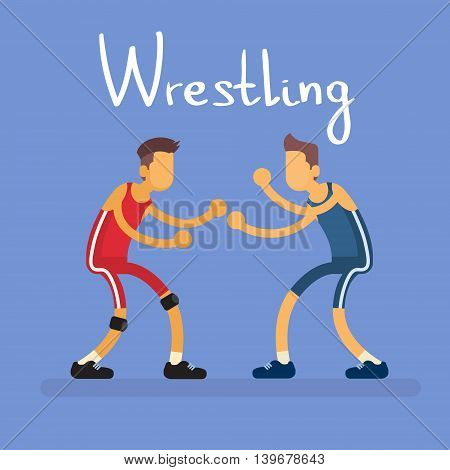 Wrestling Two Wrestler Opponent Sport Competition Flat Vector Illustration