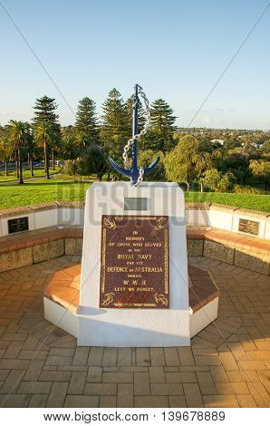 FREMANTLE,WA,AUSTRALIA-JUNE 25,2016:Royal Navy Memorial with anchor, chain and plaque set on Monument Hill in Fremantle, Western Australia.