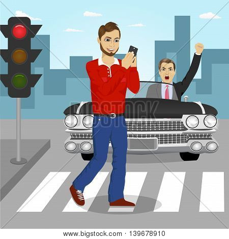 Young man crossing street sending sms while angry driver in a black convertible car yelling at him