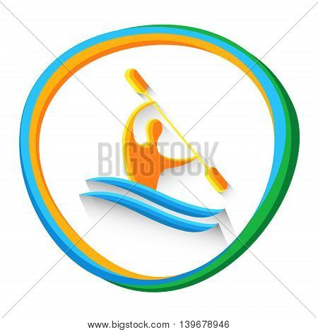Canoe Slalom Athlete Sport Game Logo Competition Icon Vector Illustration