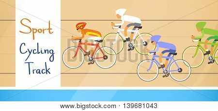 Cycle Racing Athlete Competition Sport Racetrack Flat Vector Illustration