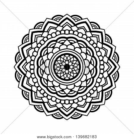 beautifull black simple floral orient mandala on white background, vector illustration
