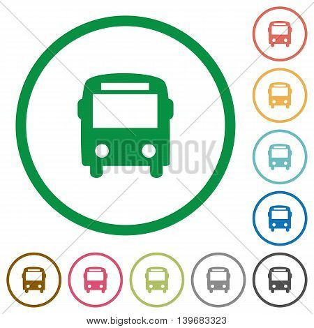 Set of bus color round outlined flat icons on white background