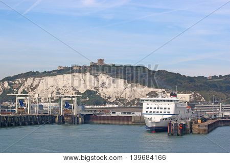Ferry moored in Dover harbour in England