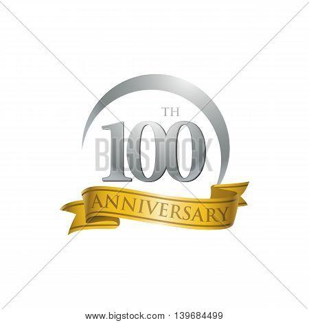 100th anniversary gold logo template. Creative design. Business success