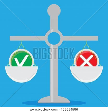 Weigh solutions. Scales and choice. Solution concept and vector business solutions illustration
