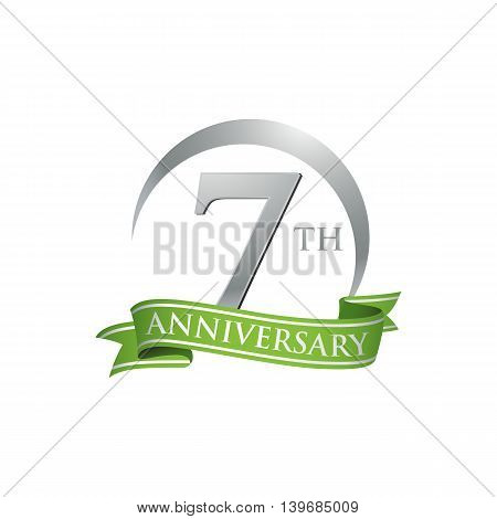 7th anniversary green logo template. Creative design. Business success