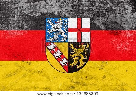 Flag Of Saarland, Germany, With A Vintage And Old Look