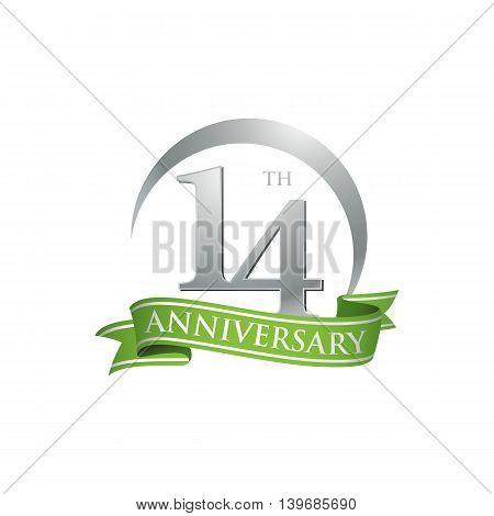 14th anniversary green logo template. Creative design. Business success