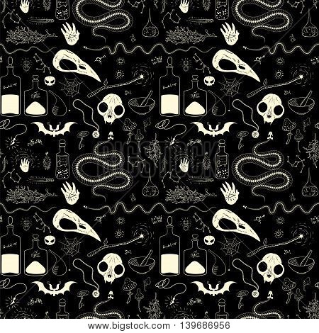 Seamless pattern with skulls and skeletons of of animals for Halloween