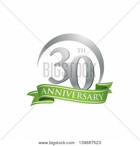 30th anniversary green logo template. Creative design. Business success