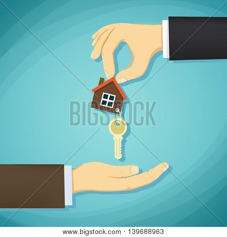 Man holds in his hand the keys to the house. Deal with real estate. Stock Vector cartoon illustration.
