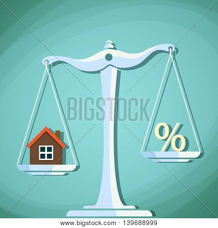 Scales for weighing with a house and percent sign. Stock Vector cartoon illustration.