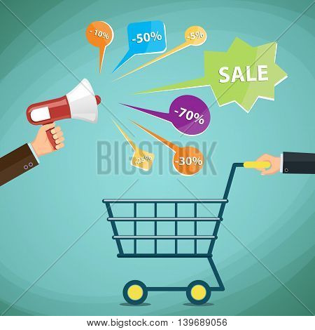 Man with a shopping cart. Discounts promotions and advertising. Stock Vector cartoon illustration.