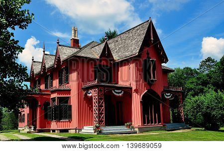 Woodstock Connecticut - July 11 2015: 1846 Henry C. Bowen House known as Roseland Cottage built in the gothic revival style