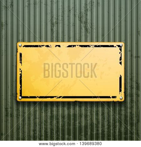 Yellow metal plate on grunge old surface. Industrial background. Stock vector illustration.