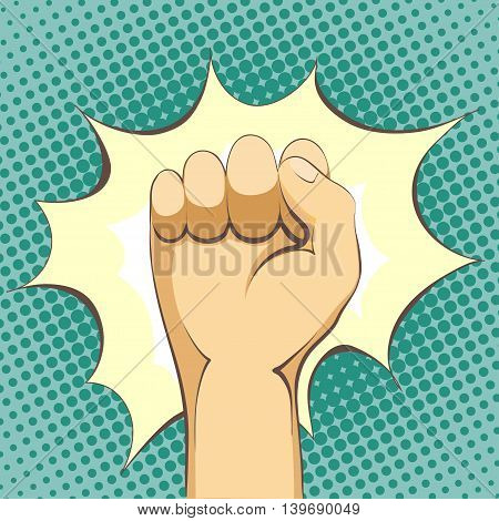 Punch. Human hand in pop art style. Stock Vector cartoon illustration.