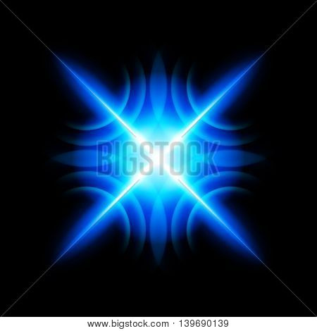 Bright blue digital star with four tips on the black background