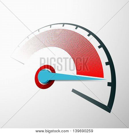 Scale of speed measurement with an arrow. Speedometer on the dashboard. Stock vector illustration.