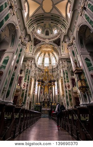 Vertorama of the Inside of Mannheim Germany's Cultural Jesuitenkirche