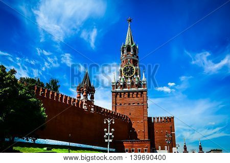 Kremlin chiming clock of the Spasskaya Tower. Moscow Russia. Selective focus
