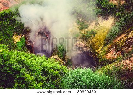The Legendary Valley Of Geysers In The Summer.