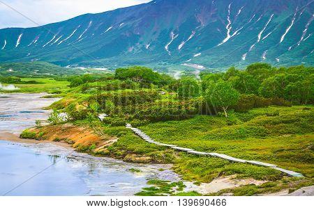 Fumarole Fields On The Volcanic Caldera Uzon.  Kamchatka, Russia
