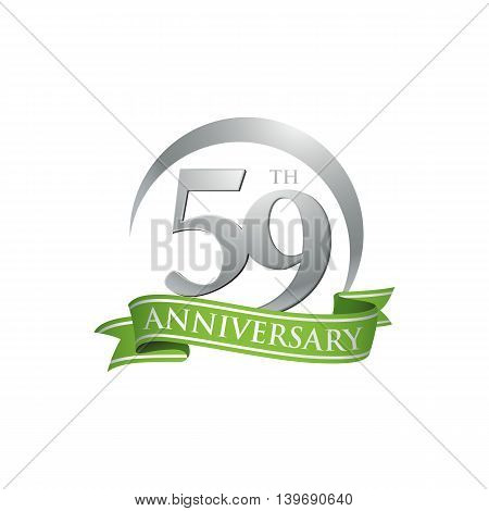 59th anniversary green logo template. Creative design. Business success