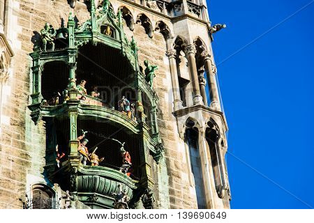 Munich Rathaus Glockenspiel in Action on Sunny Day in Germany