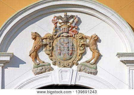 Coat of arms above the entrance to the Lukavec Castle a Citadel-castle near Velika Gorica Croatia