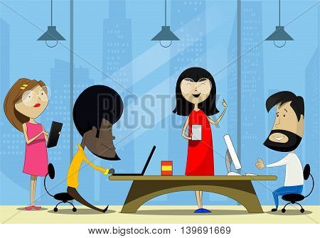 Creative cartoon people working in office. Teamwork, co working concept illustration. Vector