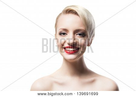 Headshot of smiling model with red lips and short hair on white background.Isolate