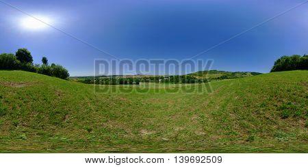 360 panorama of a rural landscape near Mikhaza (Calugareni) in Mure? County, Transylvania, Romania poster