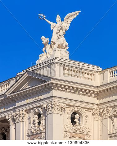 Zurich, Switzerland - 20 July, 2016: upper part of the Zurich Opera House building. Zurich Opera House (German: Opernhaus Zurich) is an opera house in the Swiss city of Zurich it has been the home of the Zurich Opera since 1891.