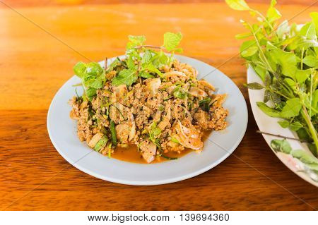 Larb duck mince with spicy taste Thai food poster