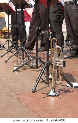 Trumpet on the concert stage. Musical performances.
