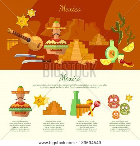 Mexico infographics mexican culture and food attraction poncho guitar vector illustration