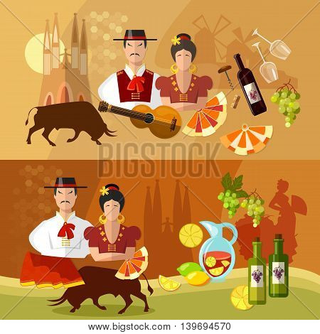 Spain banners traditions and culture spanish attractions people vector illustration
