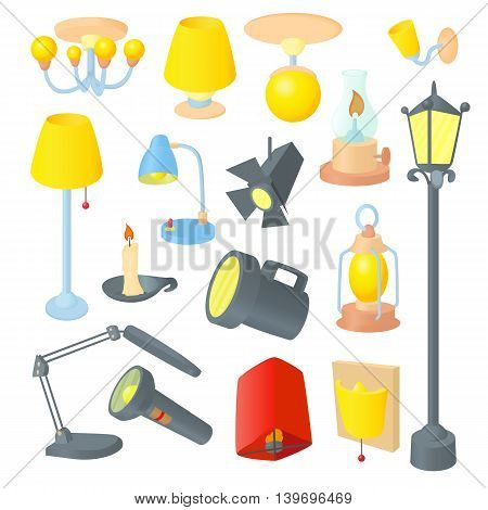 Lighting icons set in cartoon style. Light equipment set collection vector illustration