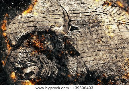 Burning wood bison. Enraged by the flaming symbol of the buffalo
