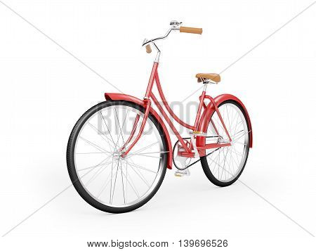 Red vintage womens red bicycle isolated on white background