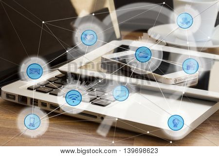 Modern devices and and wireless communication network, Iots of Internet Things and ICT Information Communication Technology concept