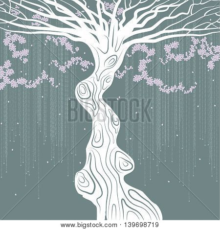 White tree with a curved trunk, pink petals and liana  on green-blue background.