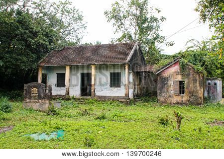 Building Ruins With Overgrowth In The Vietnamese Jungle.