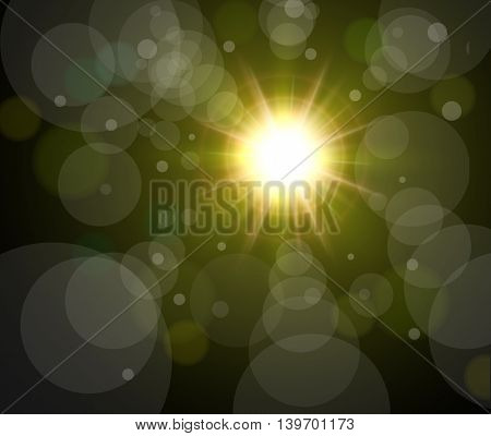 Vector star, sun with bokeh lens flare background