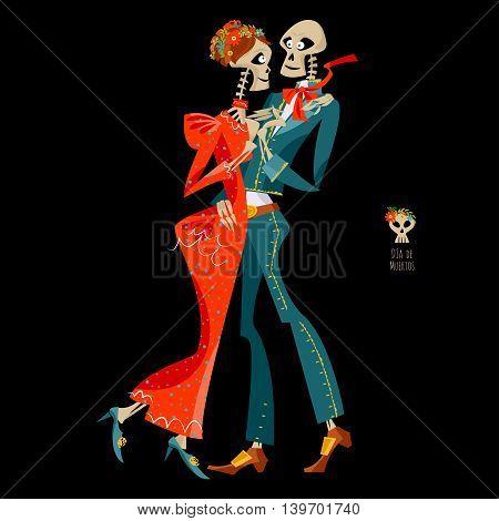 Dancing skeletons. Dia de Muertos. Mexican tradition. Vector illustration poster